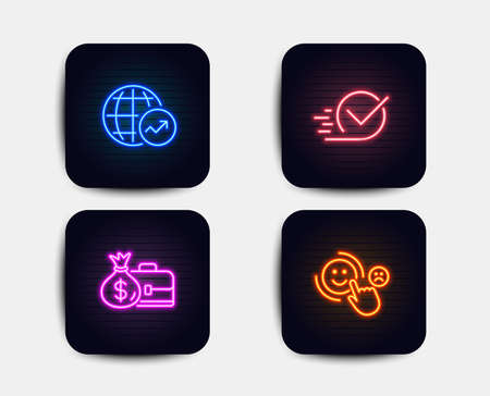 Neon glow lights. Set of Salary, World statistics and Checkbox icons. Customer satisfaction sign. Diplomat with money bag, Global report, Approved. Happy smile.  Neon icons. Glowing light banners