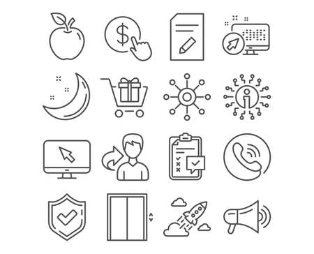 Set of Shopping cart, Lift and Edit document icons. Buy currency, Checklist and Megaphone signs. Startup rocket, Internet and Multichannel symbols. Gift box, Elevator, Page with pencil. Vector