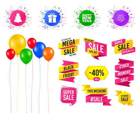 Balloons party. Sales banners. Happy new year icon. Christmas tree and gift box signs. Fireworks explosive symbol. Birthday event. Trendy design. Vector