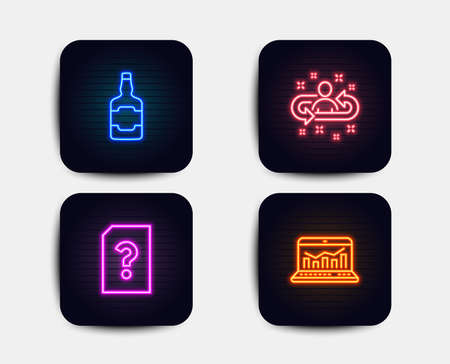 Neon glow lights. Set of Whiskey bottle, Unknown file and Recruitment icons. Web analytics sign. Scotch alcohol, Doc with question mark, Manager change. Statistics.  Neon icons. Glowing light banners Illustration