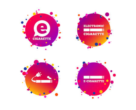 E-Cigarette with plug icons. Electronic smoking symbols. Speech bubble sign. Gradient circle buttons with icons. Random dots design. Vector
