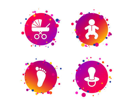 Baby infants icons. Toddler boy with diapers symbol. Buggy and dummy signs. Child pacifier and pram stroller. Child footprint step sign. Gradient circle buttons with icons. Random dots design. Vector Illustration
