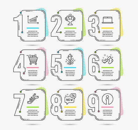 Infographic template with numbers 9 options. Set of Chart, Laptop and New icons. Shopping cart, Victory and Fireworks signs. Santa boots, Escalator and Info symbols. Vector Imagens - 109084098