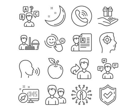 Set of Cleaning service, Job interview and Human sing icons. Quiz test, Conversation messages and Customer satisfaction signs. Couple, Recruitment and Loyalty program symbols. Vector  イラスト・ベクター素材