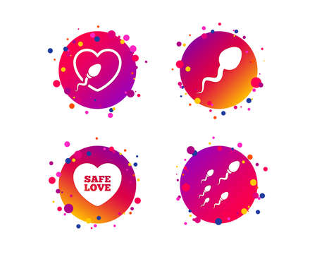 Sperm icons. Fertilization or insemination signs. Safe love heart symbol. Gradient circle buttons with icons. Random dots design. Vector