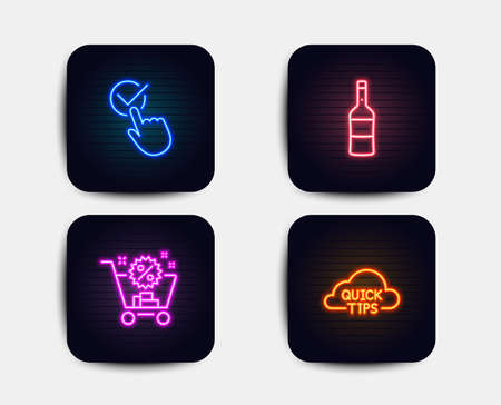Neon glow lights. Set of Wine, Shopping cart and Checkbox icons. Quick tips sign. Merlot bottle, Discount, Approved. Helpful tricks.  Neon icons. Glowing light banners. Vector
