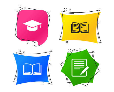 Pencil with document and open book icons. Graduation cap symbol. Higher education learn signs. Geometric colorful tags. Banners with flat icons. Trendy design. Vector