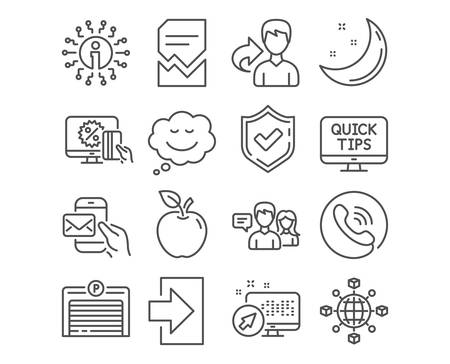 Set of Login, Web tutorials and Online shopping icons. Logistics network, Messenger mail and Corrupted file signs. Parking garage, Speech bubble and People talking symbols. Vector