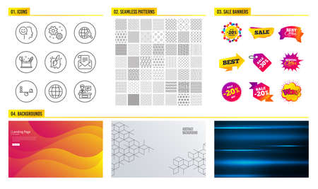 Seamless pattern. Shopping mall banners. Set of Good mood, Creativity concept and Balance icons. Work, International Ð¡opyright and Painting brush signs. Mail newsletter, Globe and Exhibitors symbols