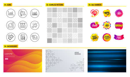 Seamless pattern. Shopping mall banners. Set of Documentation, Musical note and Algorithm icons. Graph, Infographic graph and Open mail signs. Rejected payment, Evaporation and New mail symbols