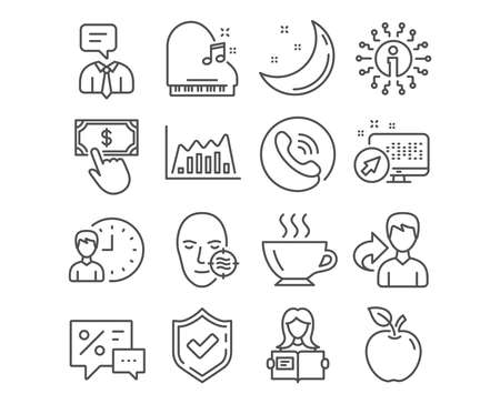 Set of Infographic graph, Working hours and Discounts icons. Woman read, Coffee and Piano signs. Support service, Payment click and Problem skin symbols. Line diagram, Project deadline, Best offer Archivio Fotografico - 109084151