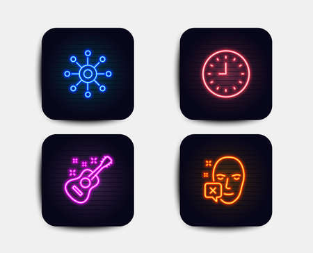 Neon glow lights. Set of Clock, Guitar and Multichannel icons. Face declined sign. Time or watch, Acoustic instrument, Multitasking. Identification error.  Neon icons. Glowing light banners. Vector Ilustração