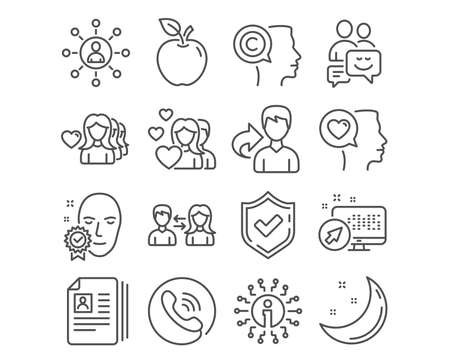 Set of Networking, Woman love and Face verified icons. Communication, Cv documents and Couple signs. Romantic talk, Writer and People communication symbols. Vector