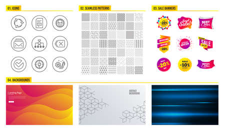 Seamless pattern. Shopping mall banners. Set of Idea, Mail and Comments icons. Face detect, Restructuring and Remove signs. Recycle, Verify and Engineering symbols. Vector