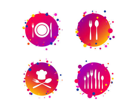 Plate dish with forks and knifes icons. Chief hat sign. Crosswise cutlery symbol. Dessert fork. Gradient circle buttons with icons. Random dots design. Vector Banque d'images - 109084283