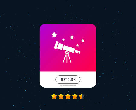 Telescope with stars icon. Spyglass tool symbol. Web or internet icon design. Rating stars. Just click button. Vector