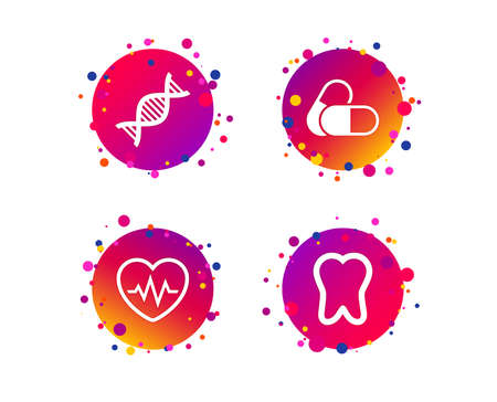 Maternity icons. Pills, tooth, DNA and heart cardiogram signs. Heartbeat symbol. Deoxyribonucleic acid. Dental care. Gradient circle buttons with icons. Random dots design. Vector Standard-Bild - 109084322