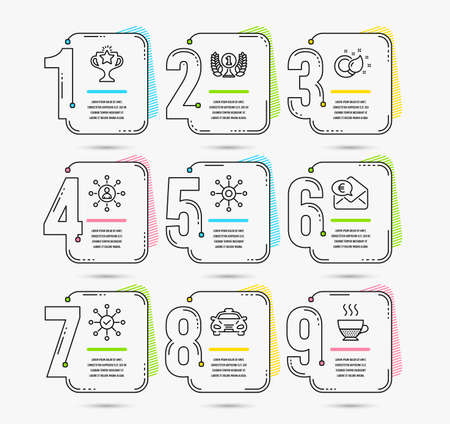 Infographic template with numbers 9 options. Set of Laureate award, Taxi and Networking icons. Multichannel, Survey check and Euro money signs. Paint brush, Victory and Doppio symbols. Vector