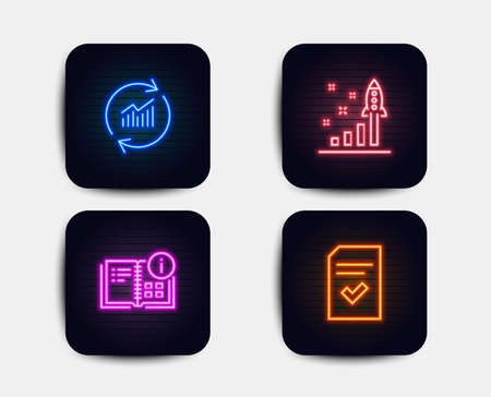 Neon glow lights. Set of Instruction info, Update data and Development plan icons. Checked file sign. Project, Sales statistics, Strategy. Correct document.  Neon icons. Glowing light banners. Vector Illustration