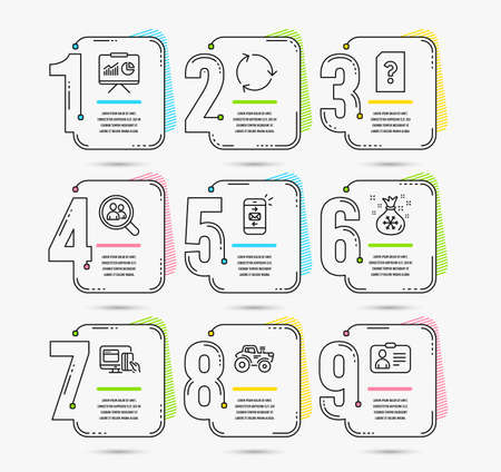 Infographic template with numbers 9 options. Set of Presentation, Search employees and Online payment icons. Recycling, Santa sack and Unknown file signs. Tractor, Mail and Id card symbols. Vector