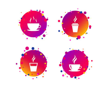 Coffee cup icon. Hot drinks glasses symbols. Take away or take-out tea beverage signs. Gradient circle buttons with icons. Random dots design. Vector Illustration