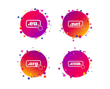 Top-level internet domain icons. Com, Eu, Net and Org symbols with hand pointer. Unique DNS names. Gradient circle buttons with icons. Random dots design. Vector