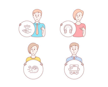 People hand drawn style. Set of Speedometer, Consolidation and Headphones icons. Bus sign. Time concept, Strategy, Earphones. Tourism transport.  Character hold circle button. Man with like hand Illustration