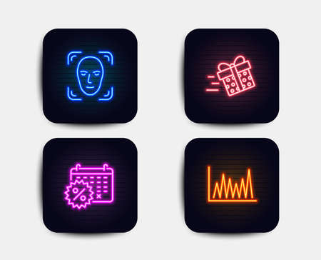 Neon glow lights. Set of Face detection, Calendar discounts and Present delivery icons. Line graph sign. Detect person, Shopping, Shopping service. Market diagram.  Neon icons. Glowing light banners Illustration