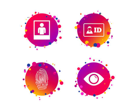Identity ID card badge icons. Eye and fingerprint symbols. Authentication signs. Photo frame with human person. Gradient circle buttons with icons. Random dots design. Vector