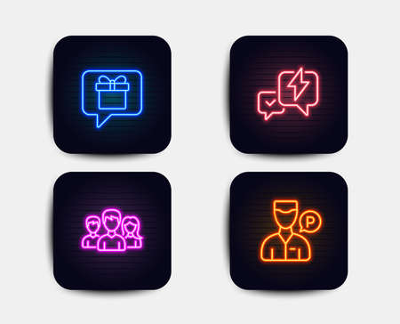 Neon glow lights. Set of Teamwork, Lightning bolt and Wish list icons. Valet servant sign. Group of users, Messenger, Present box. Parking man.  Neon icons. Glowing light banners. Vector