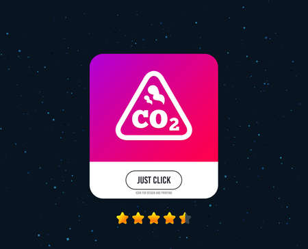 CO2 carbon dioxide formula sign icon. Chemistry symbol. Web or internet icon design. Rating stars. Just click button. Vector