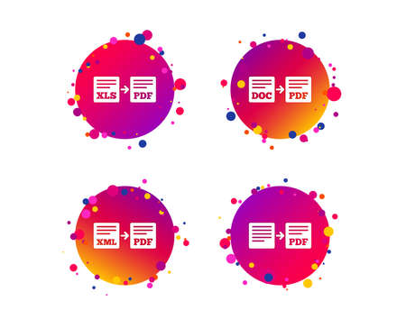 Export file icons. Convert DOC to PDF, XML to PDF symbols. XLS to PDF with arrow sign. Gradient circle buttons with icons. Random dots design. Vector