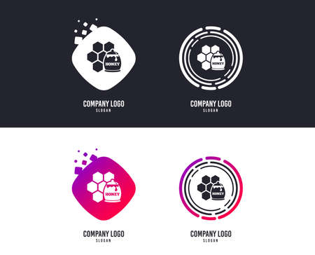 Logotype concept. Honey in pot and honeycomb sign icon. Honey cells symbol. Sweet natural food. Logo design. Colorful buttons with icons. Vector