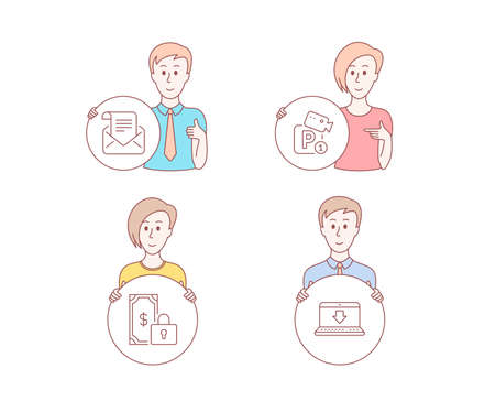 People hand drawn style. Set of Private payment, Mail newsletter and Parking security icons. Internet downloading sign. Secure finance, Open e-mail, Video camera. Load data. Vector