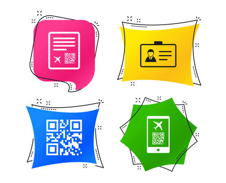 QR scan code in smartphone icon. Boarding pass flight sign. Identity ID card badge symbol. Geometric colorful tags. Banners with flat icons. Trendy design. Vector