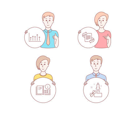 People hand drawn style. Set of Instruction info, Marketing and Growth chart icons. Innovation sign. Project, Article, Upper arrows. Crowdfunding.  Character hold circle button. Man with like hand
