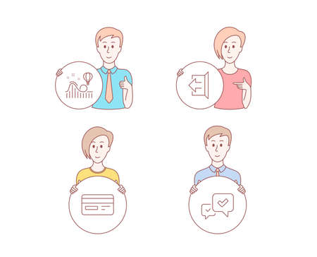 People hand drawn style. Set of Sign out, Credit card and Roller coaster icons. Approve sign. Logout, Card payment, Attraction park. Accepted message.  Character hold circle button. Man with like hand