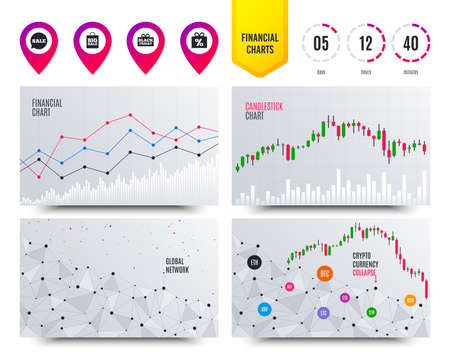 Financial planning charts. Sale speech bubble icon. Black friday gift box symbol. Big sale shopping bag. Discount percent sign. Cryptocurrency stock market graphs icons. Trendy design. Vector