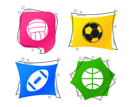 Sport balls icons. Volleyball, Basketball, Soccer and American football signs. Team sport games. Geometric colorful tags. Banners with flat icons. Trendy design. Vector