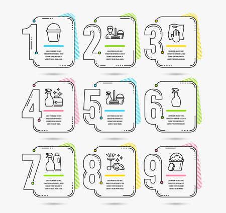 Modèle d'infographie avec options de nombres 9. Ensemble d'icônes de service de seau, aspirateur et nettoyage. Shampooing et spray, service de ménage et signes de pulvérisation. Chiffon à laver, symboles éponge. Vecteur