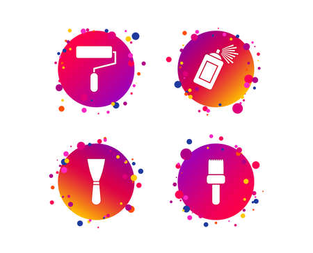 Paint roller, brush icons. Spray can and Spatula signs. Wall repair tool and painting symbol. Gradient circle buttons with icons. Random dots design. Vector Ilustracja