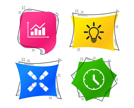 Lamp idea and clock time icons. Graph chart diagram sign. Teamwork symbol. Geometric colorful tags. Banners with flat icons. Trendy design. Vector