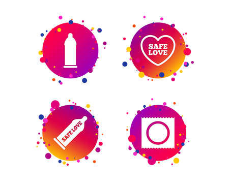 Safe sex love icons. Condom in package symbol. Fertilization or insemination. Heart sign. Gradient circle buttons with icons. Random dots design. Vector