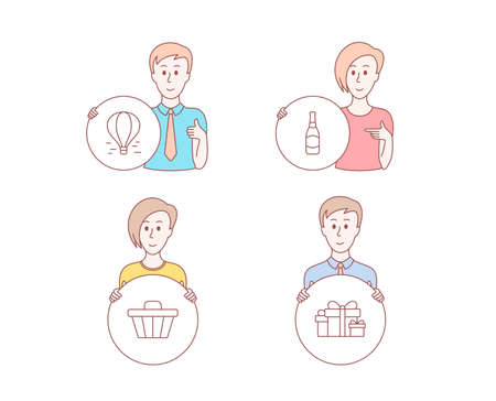 People hand drawn style. Set of Air balloon, Shop cart and Beer bottle icons. Holiday presents sign. Flight travel, Web buying, Brewery. Gift boxes.  Character hold circle button. Man with like hand