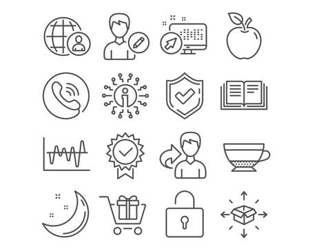 Set of Stock analysis, Parcel delivery and Education icons. Certificate, International recruitment and Lock signs. Shopping cart, Edit person and Dry cappuccino symbols. Vector Stok Fotoğraf - 111103525