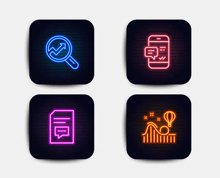 Neon glow lights. Set of Analytics, Smartphone notification and Comments icons. Roller coaster sign. Audit analysis, Chat message, Document with speech bubble. Attraction park.  Neon icons. Vector