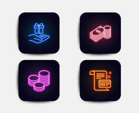 Neon glow lights. Set of Savings, Tips and Loyalty program icons. Payment card sign. Finance currency, Cash coins, Gift. Agreement conditions.  Neon icons. Glowing light banners. Vector