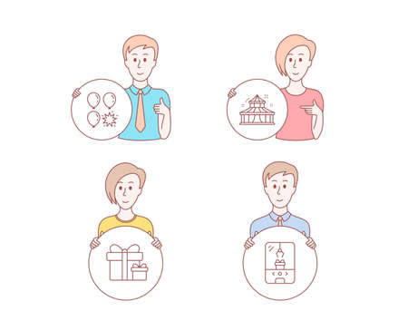 People hand drawn style. Set of Circus, Surprise package and Balloon dart icons. Crane claw machine sign. Attraction park, Present boxes.  Character hold circle button. Man with like hand. Vector