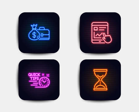 Neon glow lights. Set of Salary, Quick tips and Internet report icons. Time hourglass sign. Diplomat with money bag, Helpful tricks, Web tutorial. Sand watch.  Neon icons. Glowing light banners