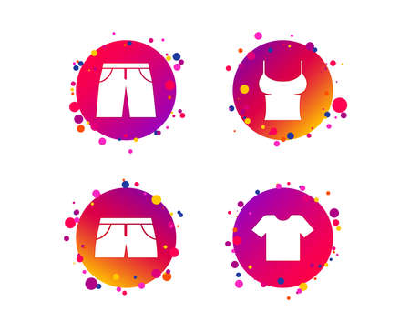 Clothes icons. T-shirt and pants with shorts signs. Swimming trunks symbol. Gradient circle buttons with icons. Random dots design. Vector Standard-Bild - 111103540